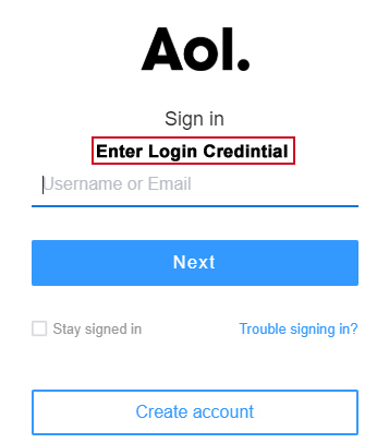 Go to AOL mail login page