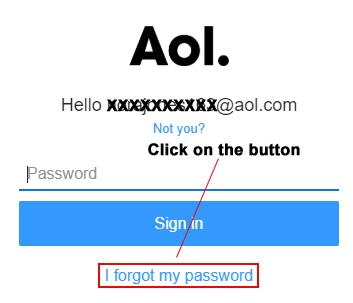 "Click on ""I forgot my AOL password"""