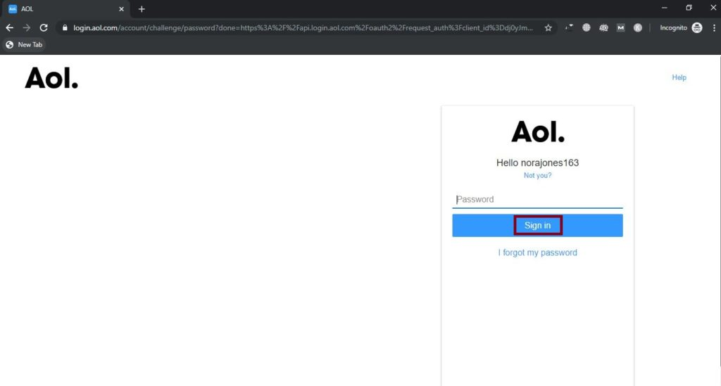 Login your AOL mail username or password