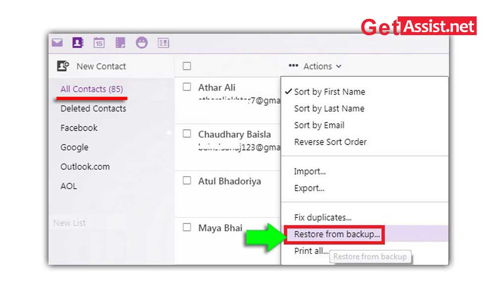 recover deleted missing yahoo mail contacts