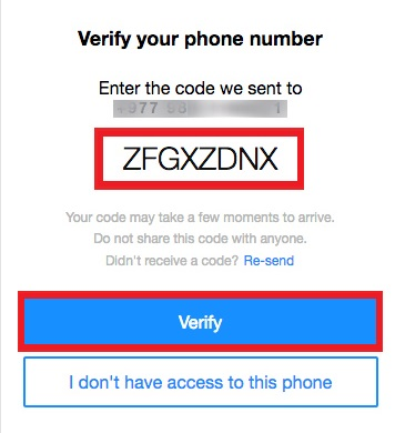 enter code and click on verify