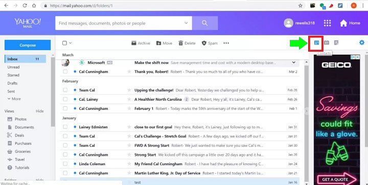 Yahoo Mail Contacts