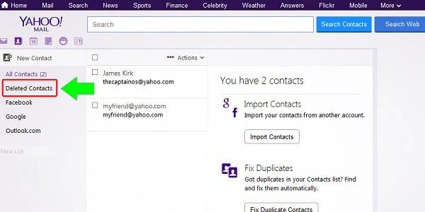 Deleted Yahoo Mail Contacts