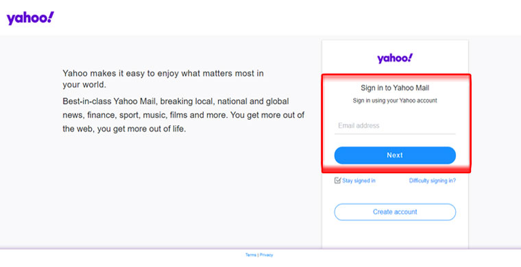 enter Yahoo email id