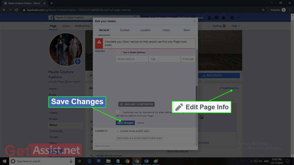 Edit page info and save changes