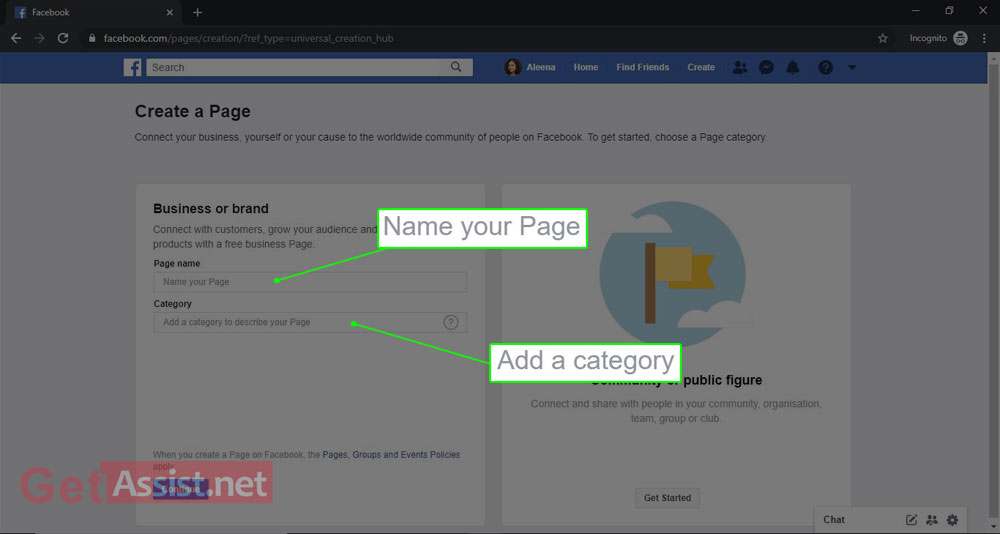 enter further details(Name, Category) about your facebook page