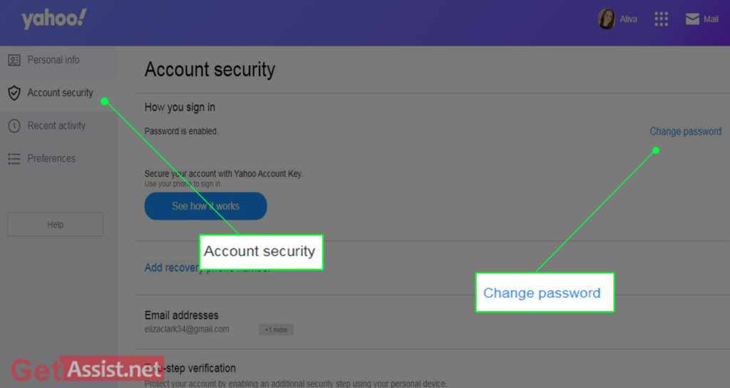 Click on Change password Under the Account Security Page