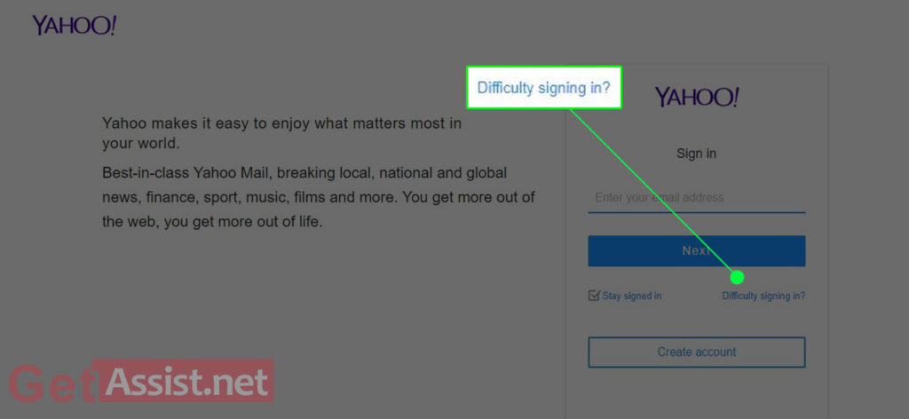 Yahoo Difficulty signing in