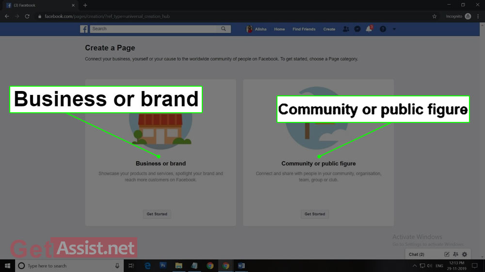 two options(Business, Community) to choose from facebook page