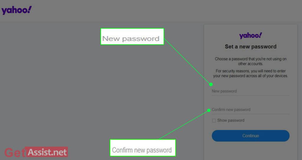 set a new password or confirm password