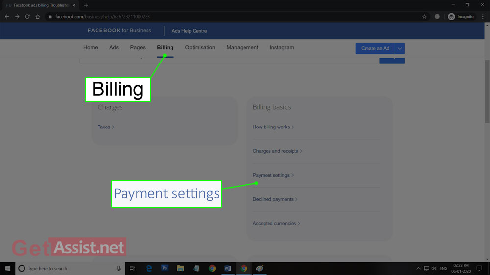 Go to Facebook Billing' Section