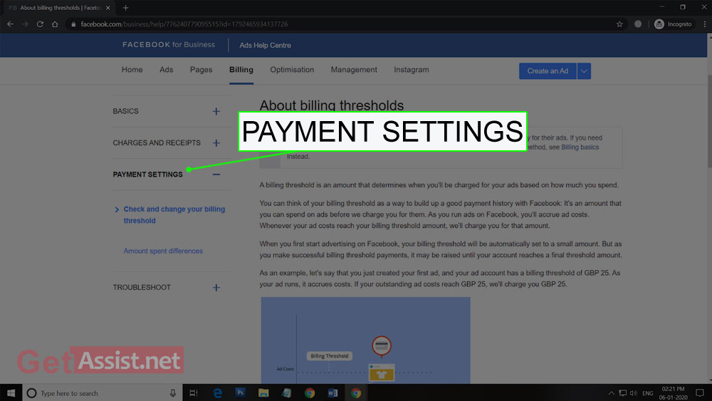 Go to Facebook Payment Settings