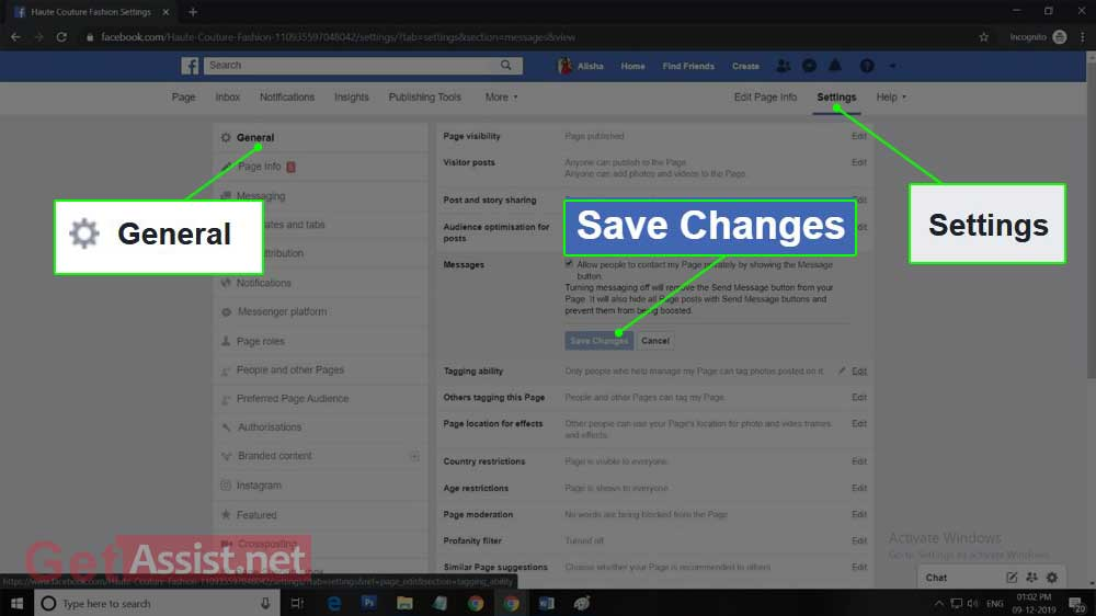 settings section of your facebook page