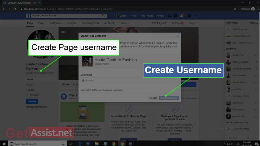 Click on Create Facebook Page Username