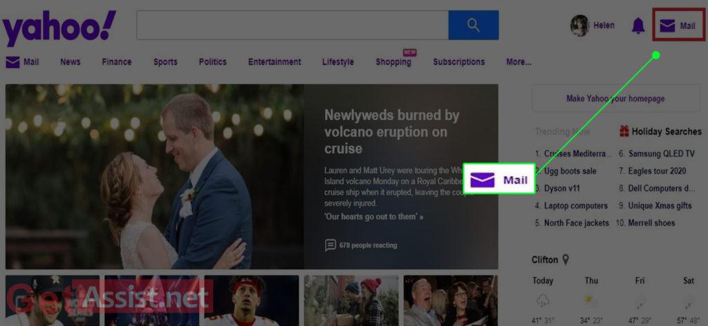 Click Yahoo mail icon