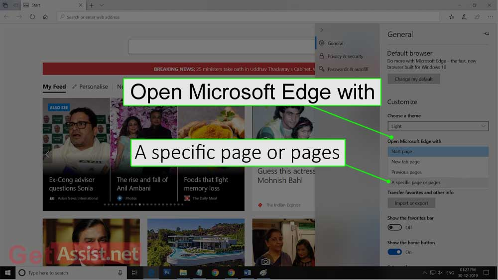 open microsoft edge with and click a specific page or pages