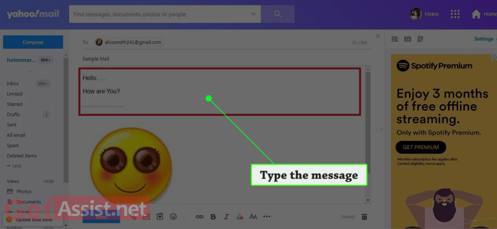 Type the message