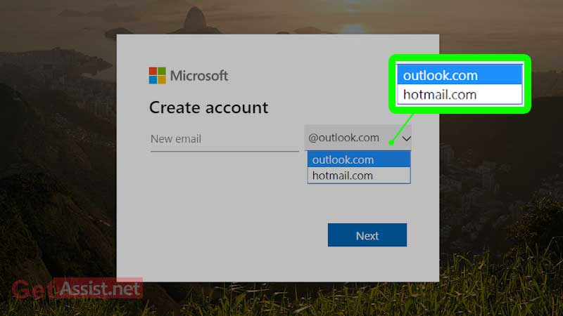 Choose hotmail or outlook