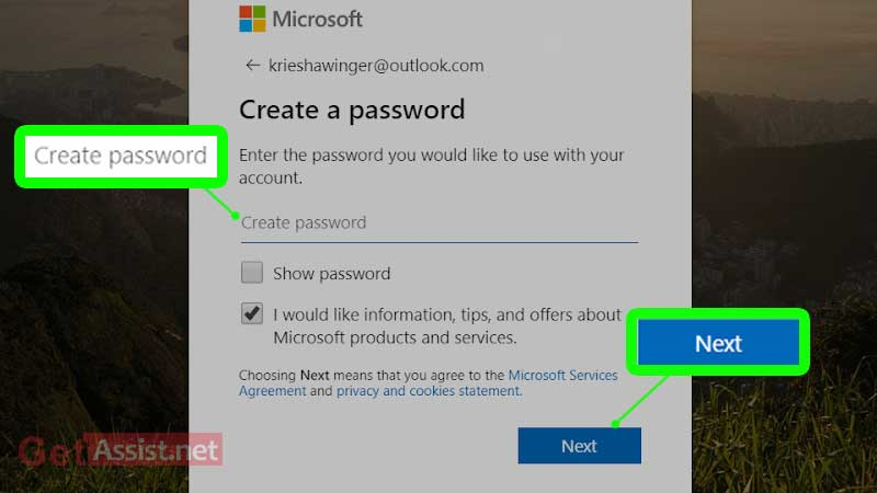 create a new password