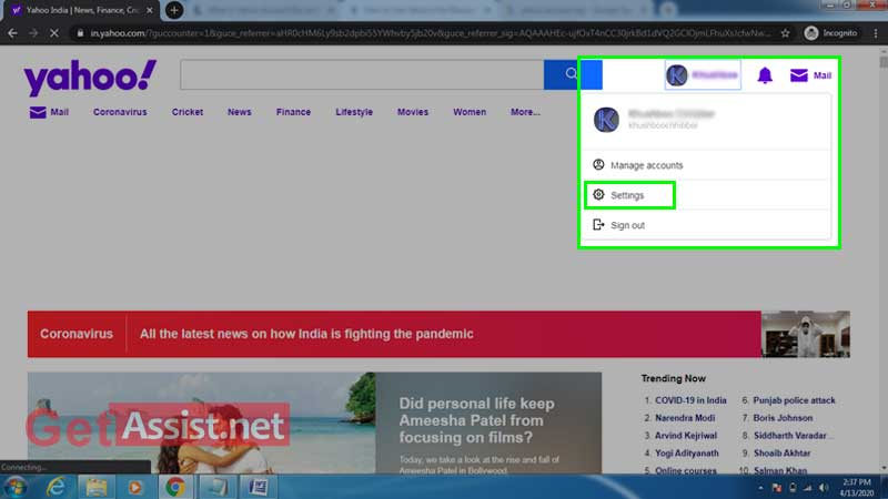 Yahoo account settings
