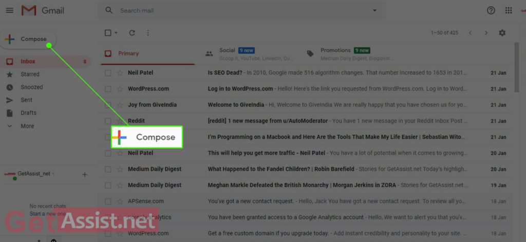 Go to Gmail Inbox and Click on Compose mail