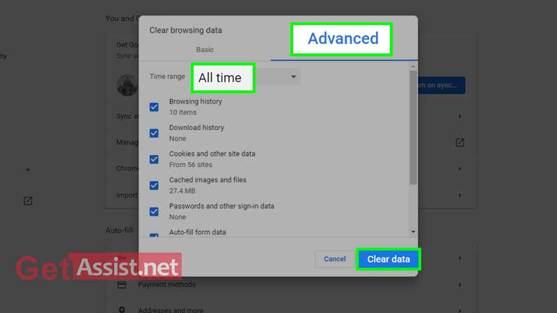 Select advanced tab and click on clear data