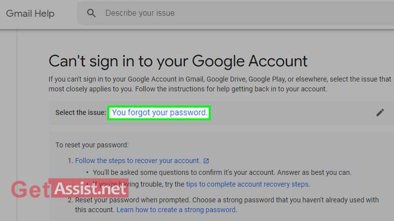hit on your forgot your password