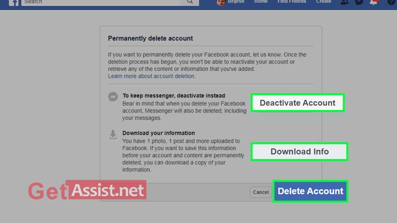 see the all option and click on delete account