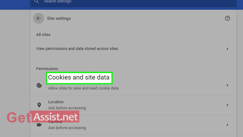 Click on cookies and site data