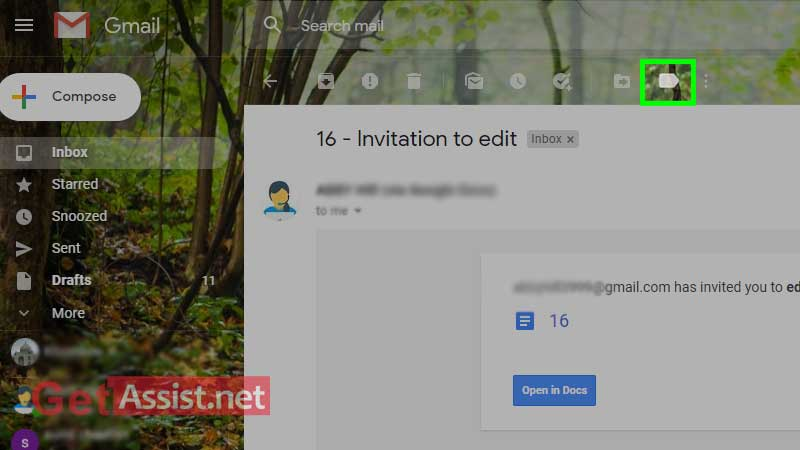 open email in your inbox and click on tag icon option