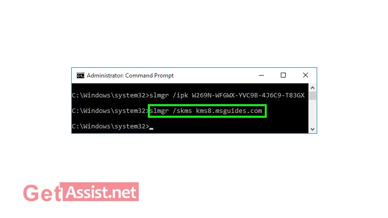 """To activate Windows 10, use the command """"slmgr /skms kms8.msguides.com"""""""