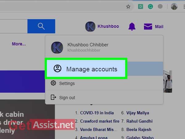 Go to manage accounts option
