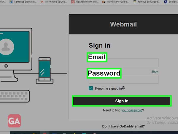 enter Godaddy webmail email address or password