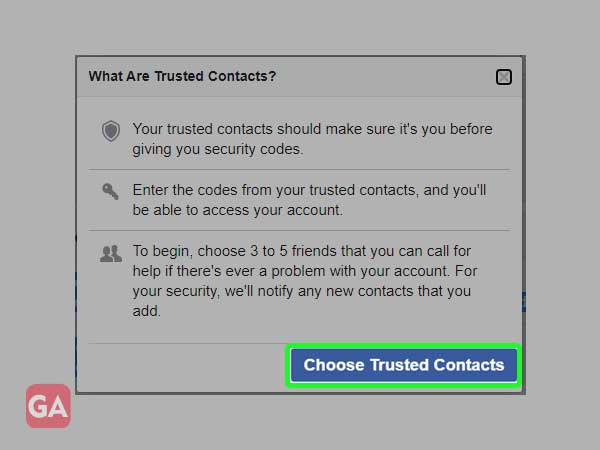 Choose the Trusted Contacts