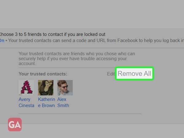 click on remove all