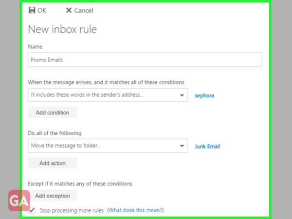 Look at 'Inbox Rules' and 'Sweep Rules' to delete any unwanted rules