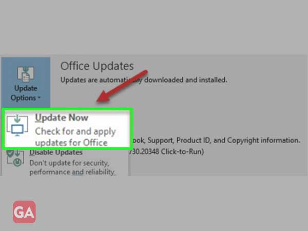 Click on the'Update Now' button