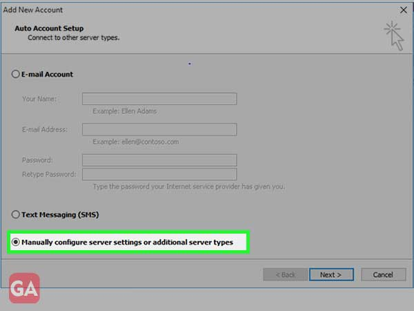 Manually Configure Server Settings or Additional Server Types