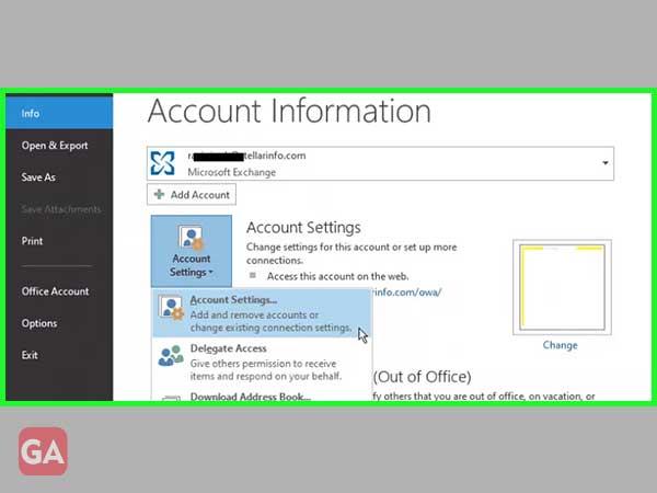 Select the Account Settings option