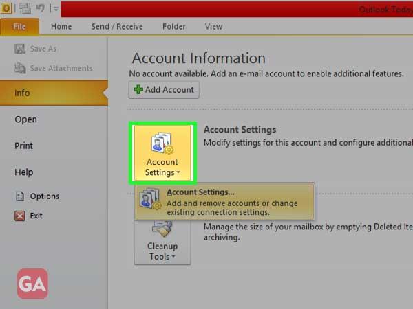 Clickon 'Account Settings' drop-down box to select 'Account Settings' option