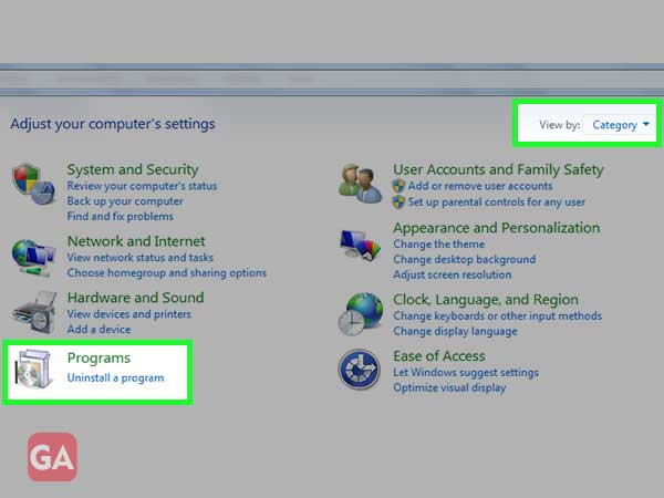Click on the 'View by' drop-down arrow and select the 'Uninstall a Program' link.