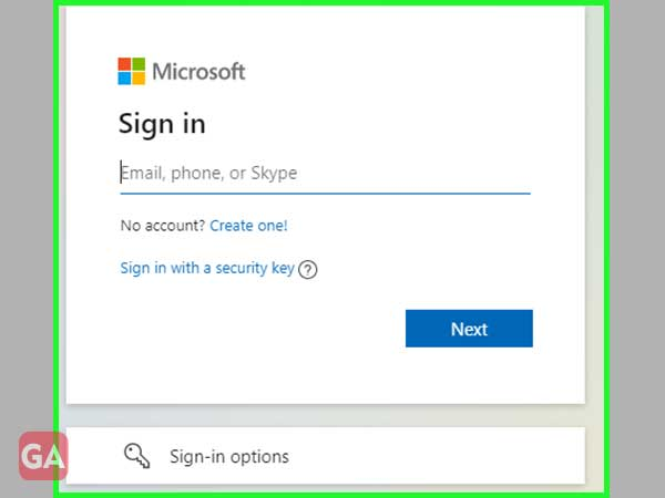 'Sign-In' to your Microsoft account