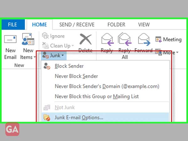 Click on 'Junk Email'