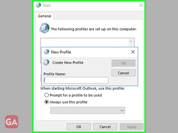 Select the 'Add' option and type a 'Profile Name.'