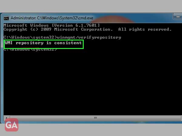 message 'WMI repository is consistent'