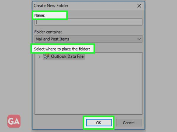 Enter 'Folder Name' select 'Location' and hit the 'OK' button