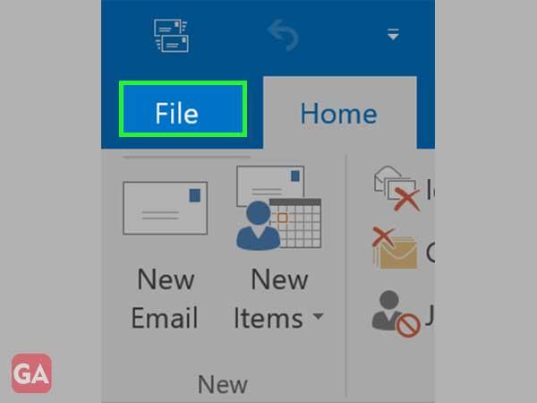 Outlook Menu File