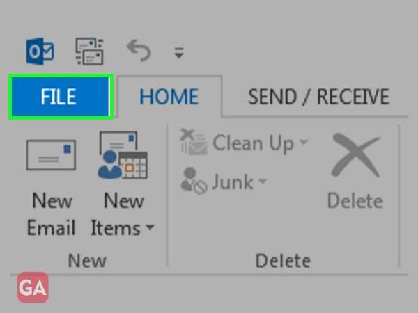 Click on 'File' menu